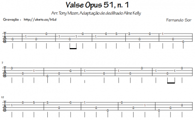 Fernando Sor - Valse Opus 51, n. 1 (tablatura)