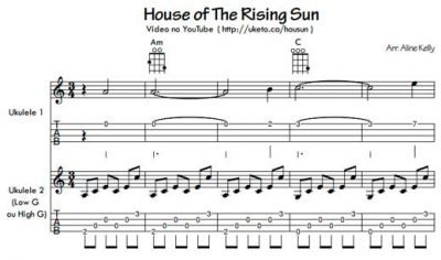 House of the Rising Sun (The Animals) - Duo ukulele (Partitura e tablatura)