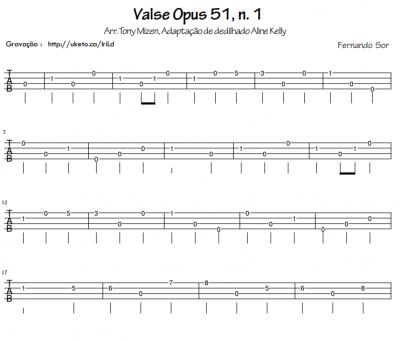 Valse Opus 51, n. 1 (Fernando Sor) para Ukulele