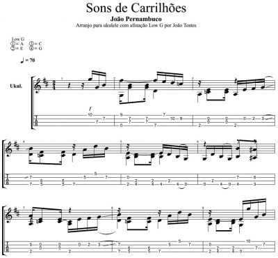 Partitura e tablatura - João Pernambuco - Sons de carrilhões (Sounds of Bells) - Ukulele Low G