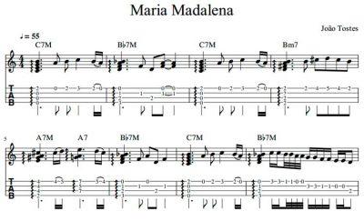 Partitura e tablatura - João Tostes - Maria Madalena (Ukulele High G)